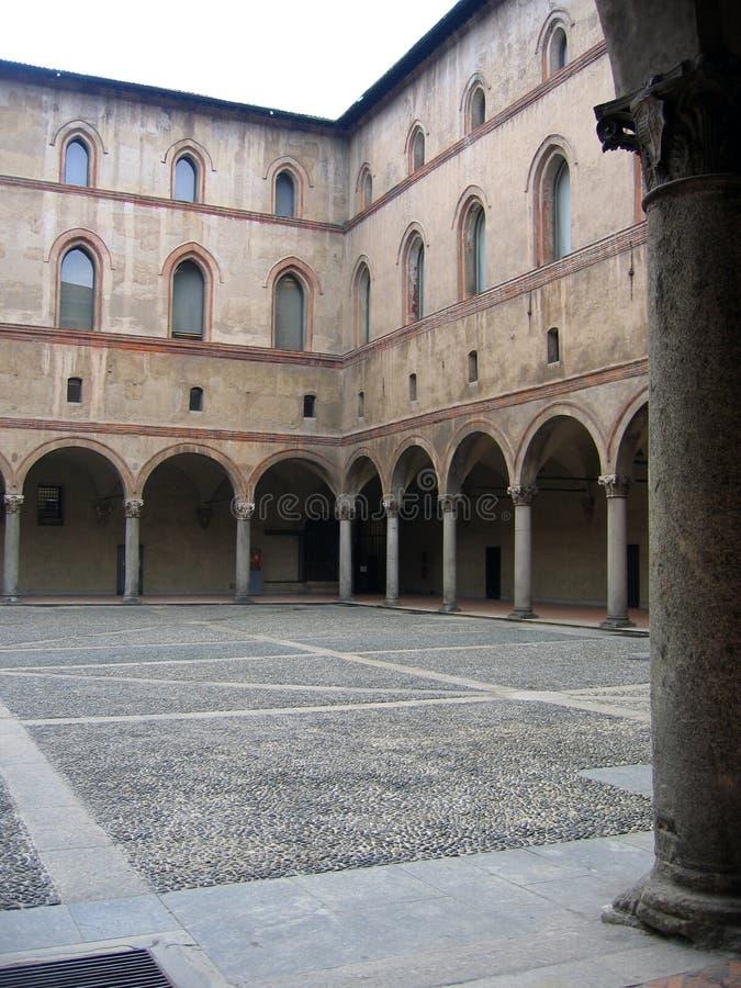 城堡内部意大利米兰sforzesco视图 免版税库存照片