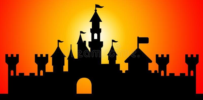 城堡剪影 向量例证