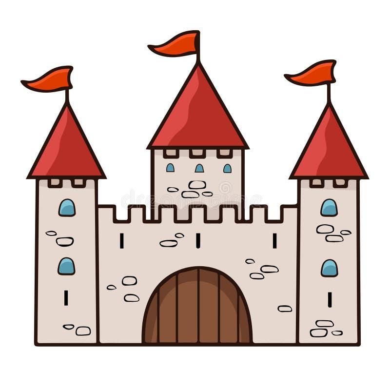 城堡动画片图画,传染媒介例证 有三个塔的石米黄被画的宫殿与门、红色圆顶和旗子隔绝了o 向量例证