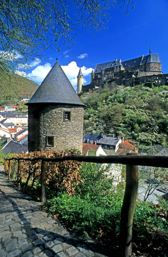 城堡卢森堡vianden 库存图片