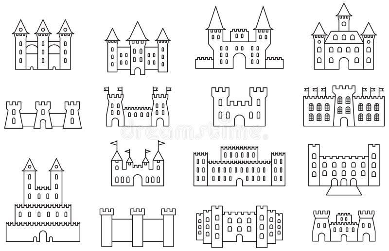 城堡和堡垒象集合 库存例证