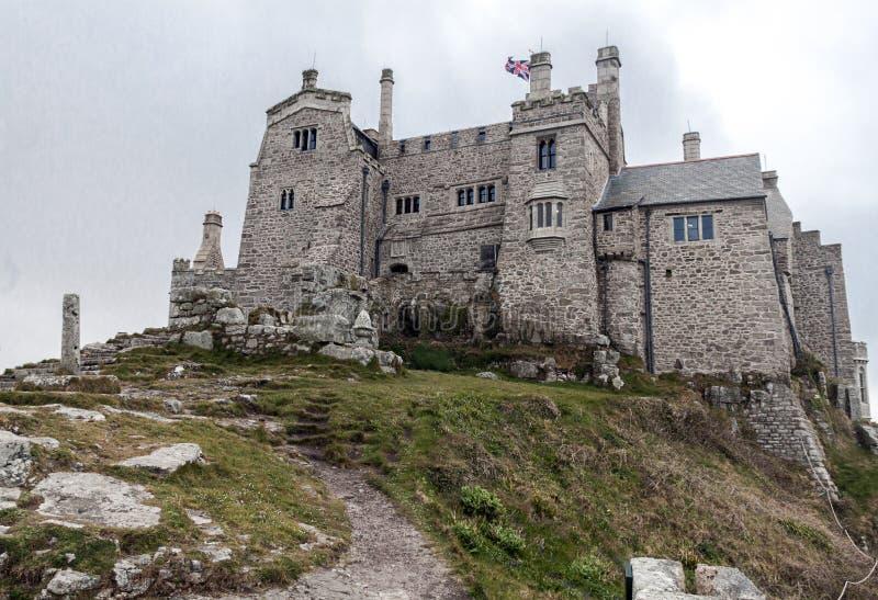 城堡和教会Mount's海湾的 免版税库存图片