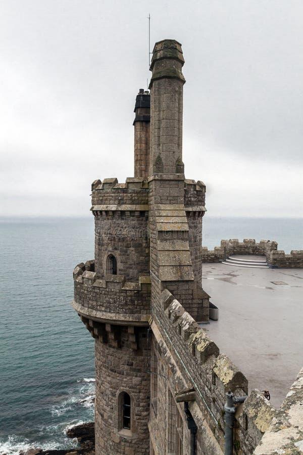 城堡和教会Mount's海湾的 免版税库存照片