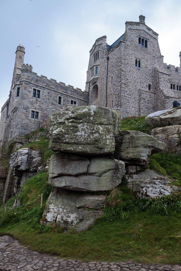 城堡和教会Mount's海湾的 免版税图库摄影