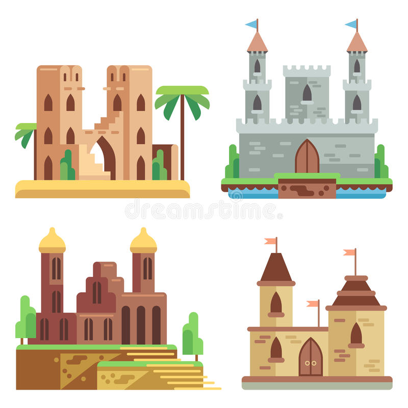 城堡和被设置的堡垒平的传染媒介象 动画片神仙中世纪与塔 库存例证