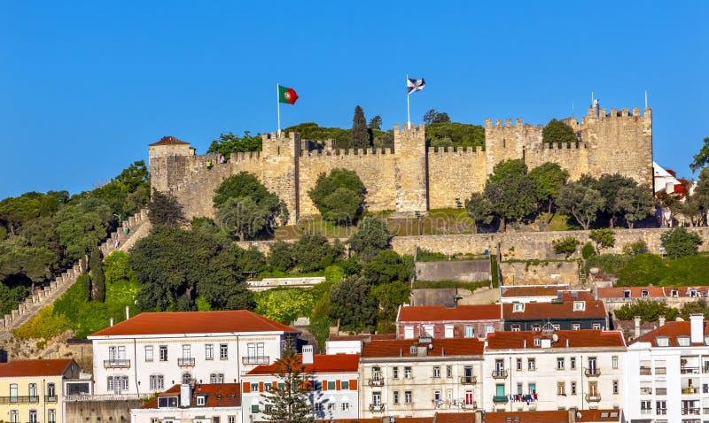 城堡圣地豪尔赫Belevedere Miradoura外型里斯本葡萄牙 免版税图库摄影