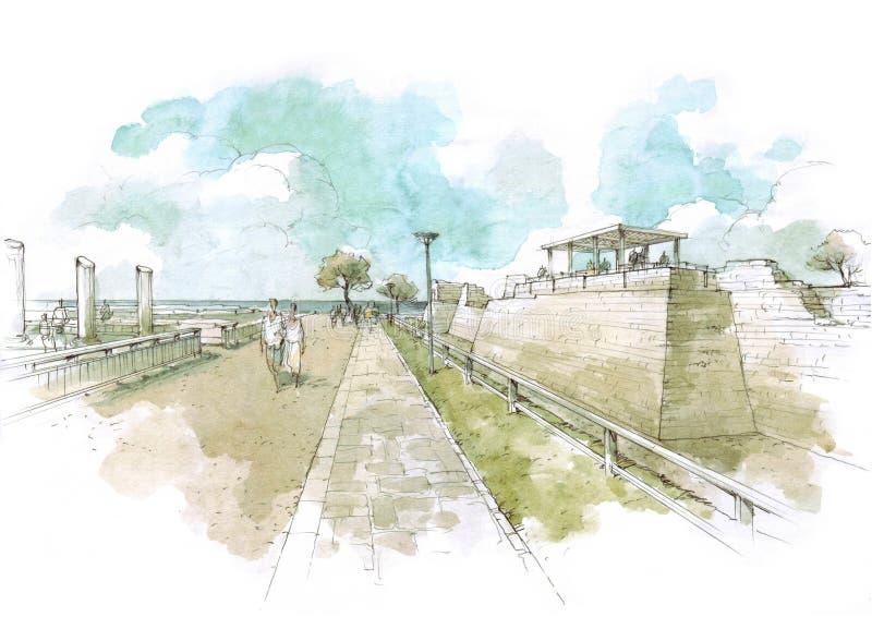 城堡在凯瑟里雅公园 库存例证