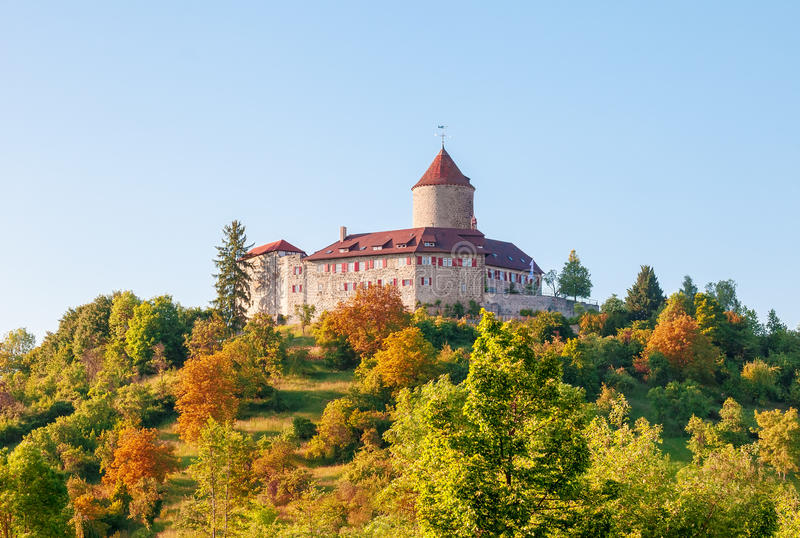 城堡在夜间 库存图片