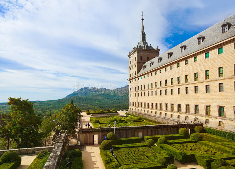 城堡在西班牙附近的escorial马德里 库存图片