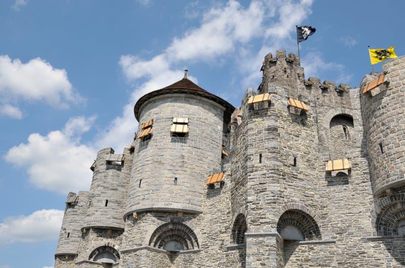 城堡在跟特市,比利时 库存照片