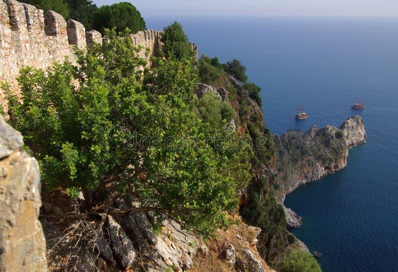 城堡在阿拉尼亚,土耳其 库存图片