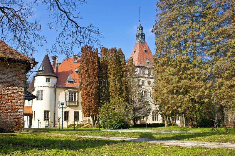 城堡在绿色自然的Donji Miholjac 免版税库存图片