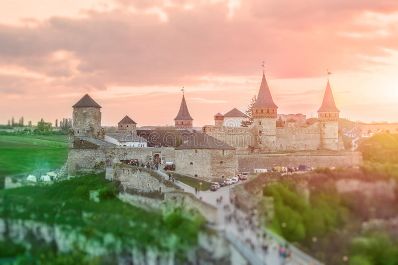 城堡在Kamianets-Podilskyi 库存照片