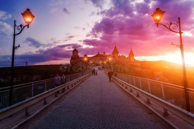 城堡在Kamianets-Podilskyi 免版税库存图片
