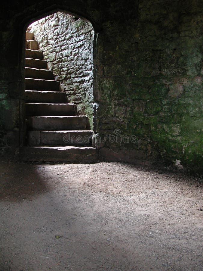 城堡地窖土牢楼梯 免版税库存图片