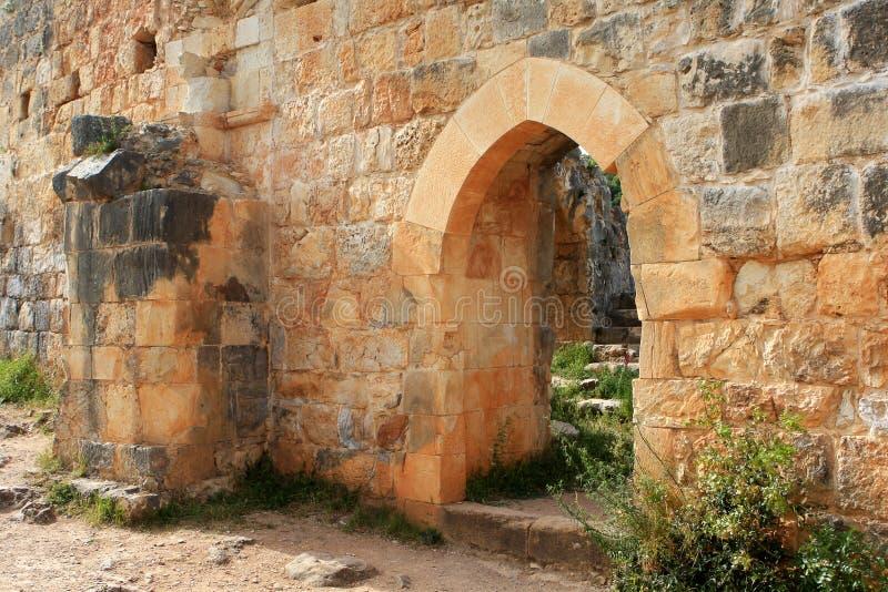 城堡城堡,以色列废墟  图库摄影