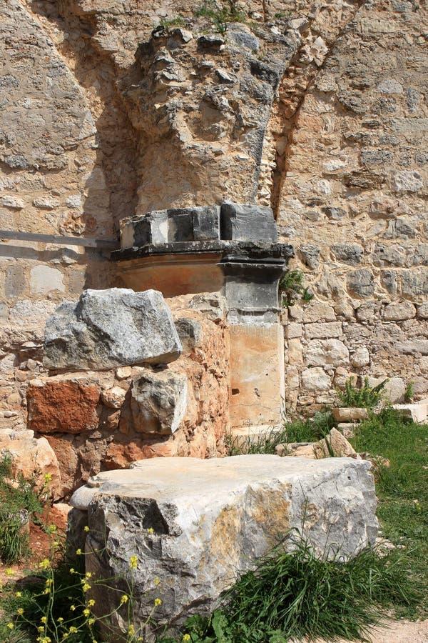 城堡城堡,以色列废墟  免版税库存照片