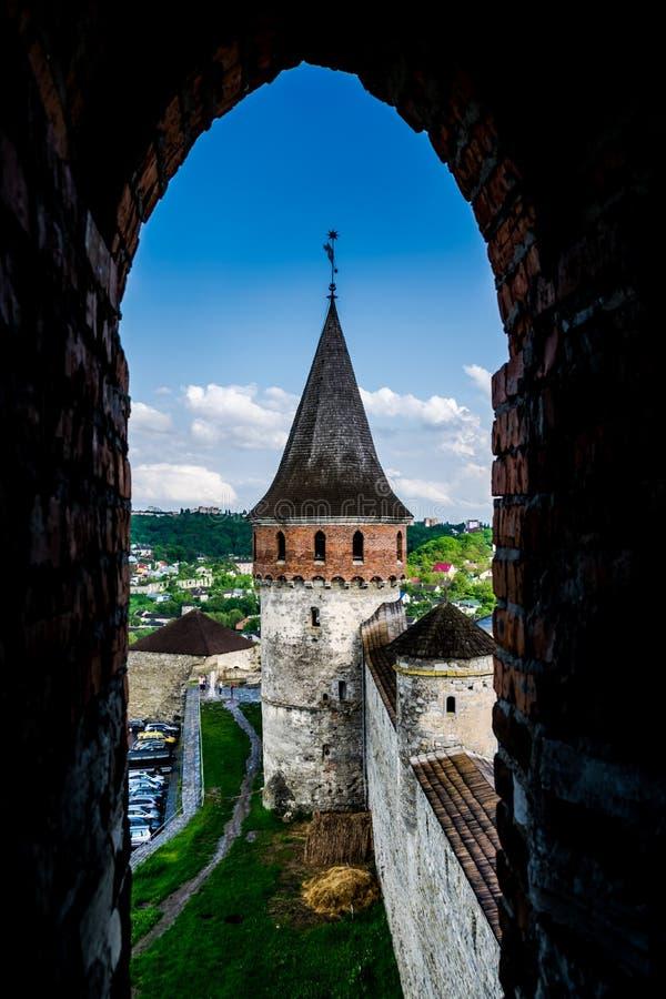 城堡塔和天空蔚蓝 库存图片