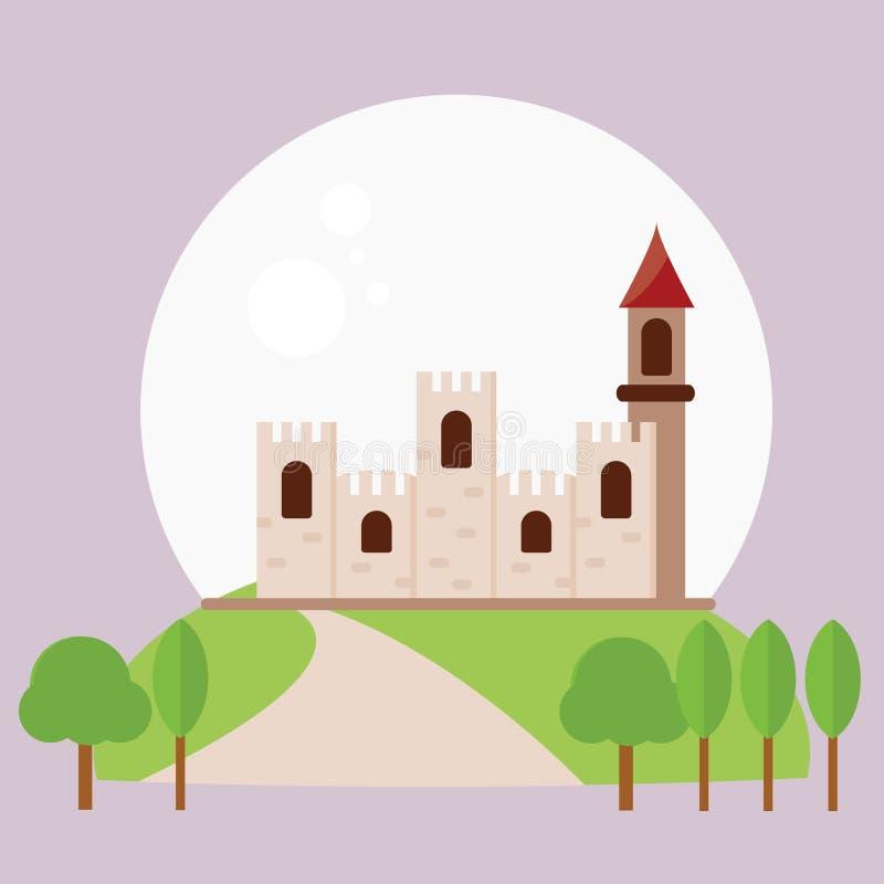 城堡夜月亮 向量例证