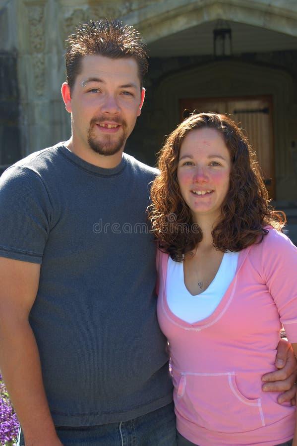 城堡夫妇前面 库存照片