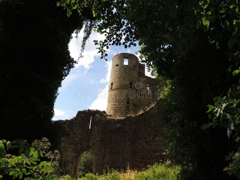 城堡废墟, Beaufort,卢森堡 免版税库存照片