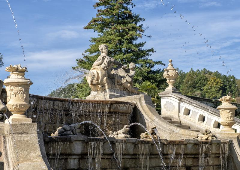 城堡庭院喷泉,捷克克鲁姆洛夫,捷克 库存图片