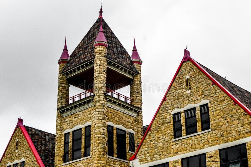城堡建筑学- Boscobel老岩石高中 库存照片