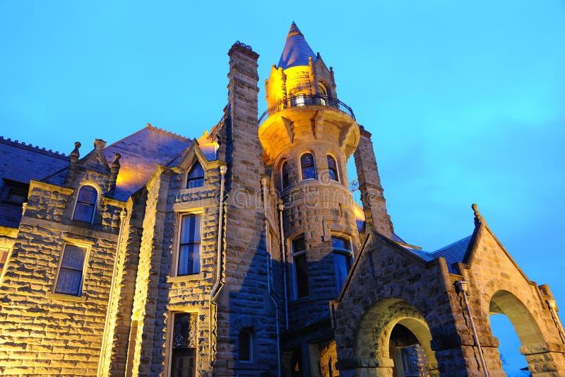 城堡晚上场面维多利亚 图库摄影