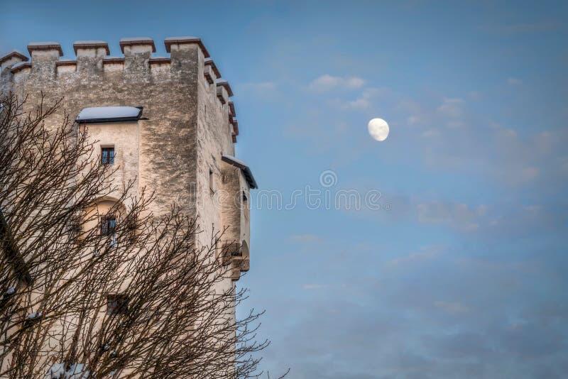 城堡月亮 免版税库存照片