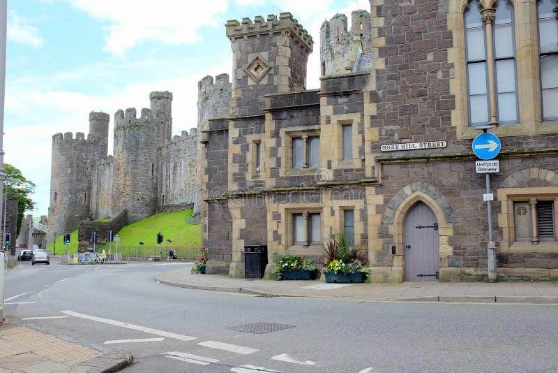 城堡正方形, Conwy,威尔士 免版税图库摄影