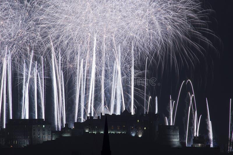 城堡爱丁堡烟花 免版税图库摄影