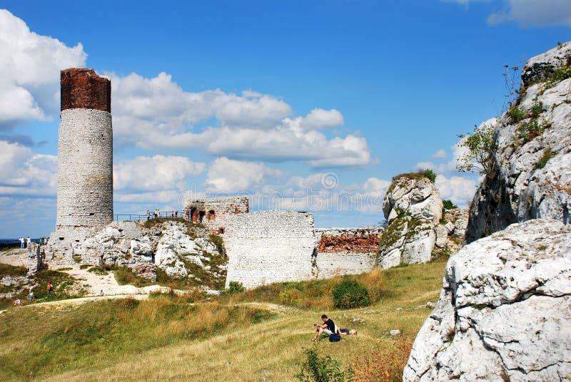 城堡的废墟在奥尔什丁 免版税库存照片