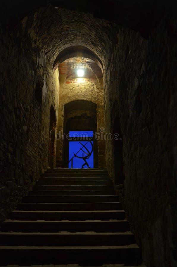 城堡的废墟-台阶 库存照片
