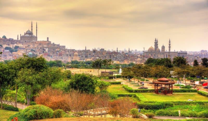 城堡的看法有穆罕默德・阿里清真寺的从艾资哈尔公园 免版税库存照片