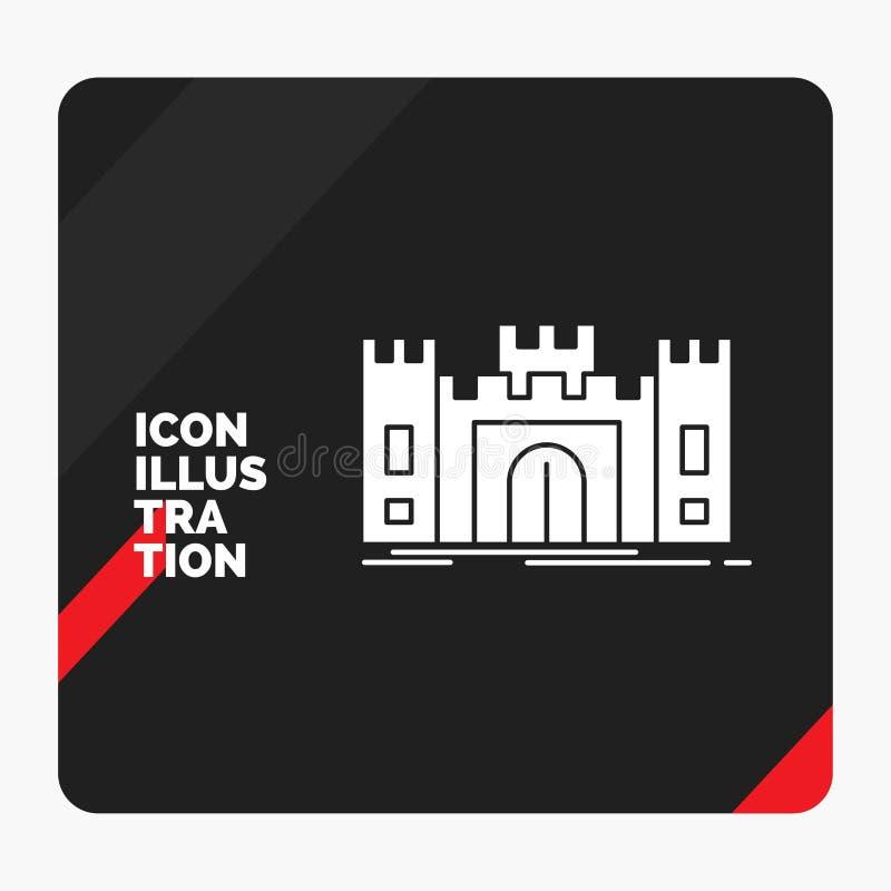 城堡的,防御,堡垒,堡垒,地标纵的沟纹象红色和黑创造性的介绍背景 皇族释放例证