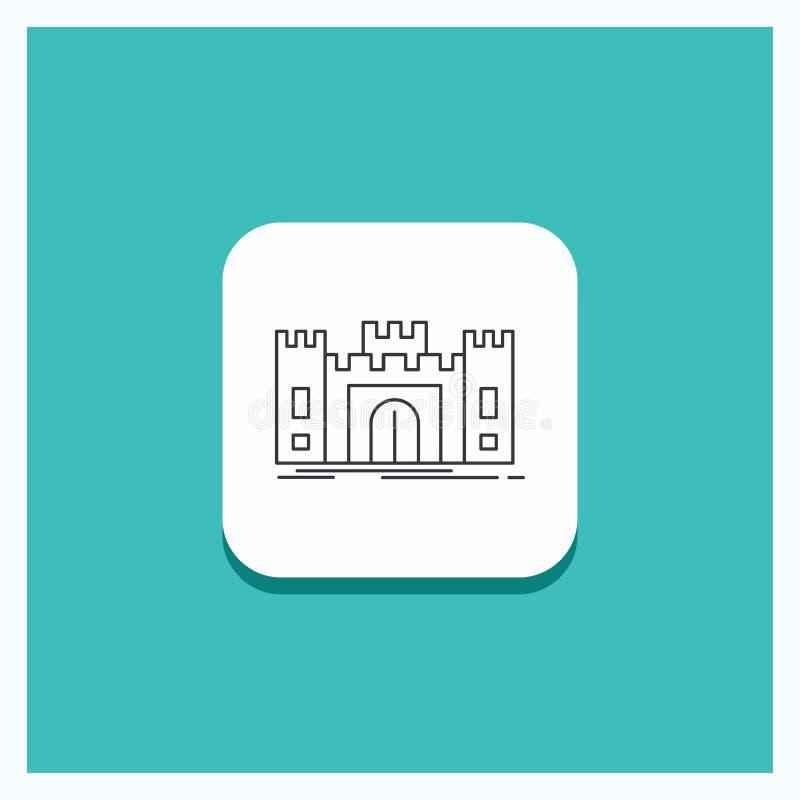 城堡的,防御,堡垒,堡垒,地标线象绿松石背景圆的按钮 向量例证