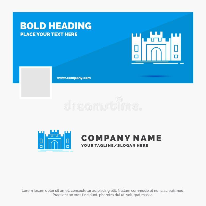城堡的,防御,堡垒,堡垒,地标蓝色企业商标模板 r r 皇族释放例证