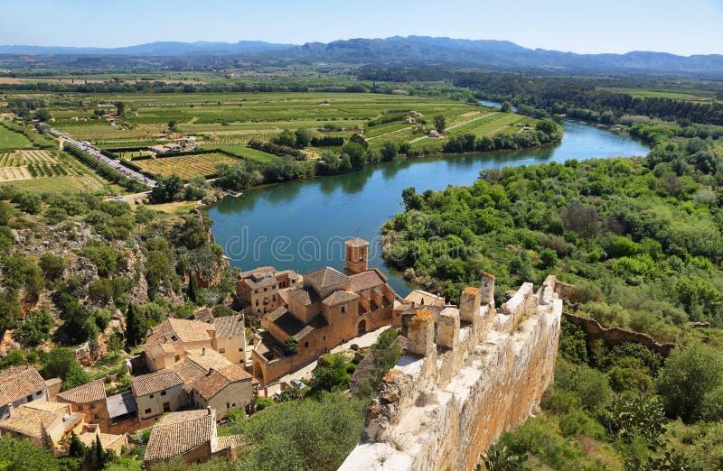 城堡米拉韦埃布罗河在卡塔龙尼亚 库存照片