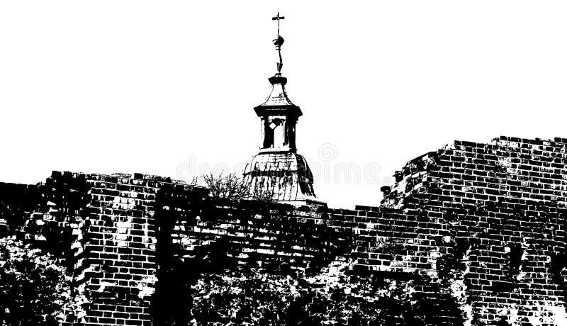城堡老废墟 皇族释放例证