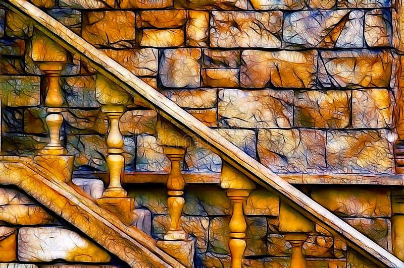 城堡老楼梯 免版税库存照片