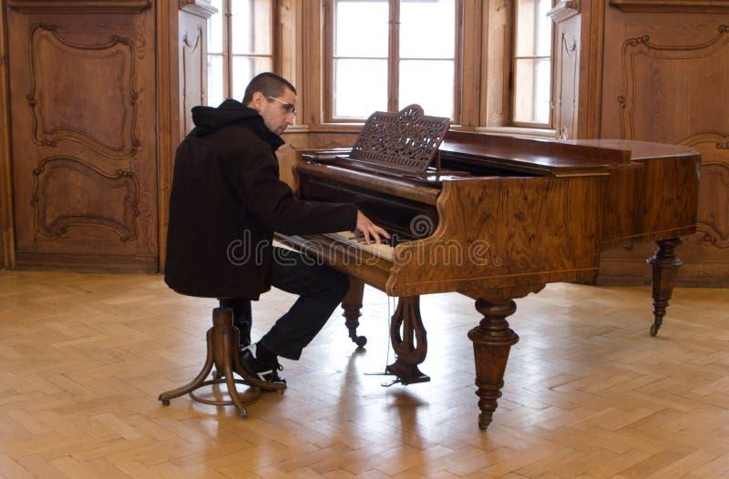城堡老钢琴演奏者 库存照片