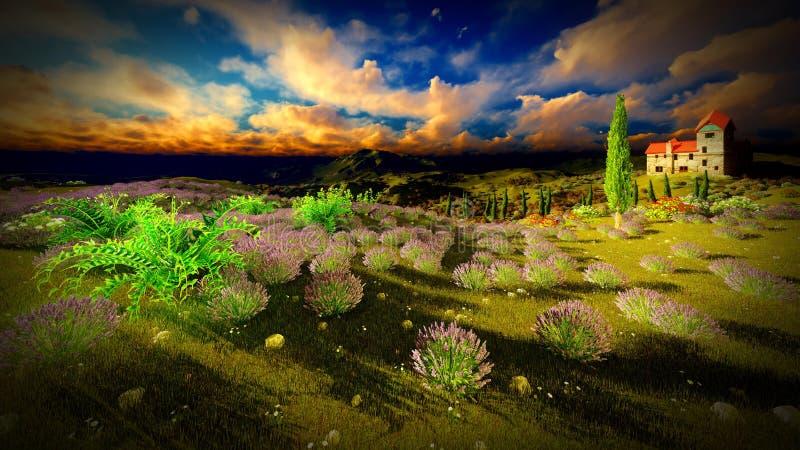 城堡耸立的9ver淡紫色领域 图库摄影