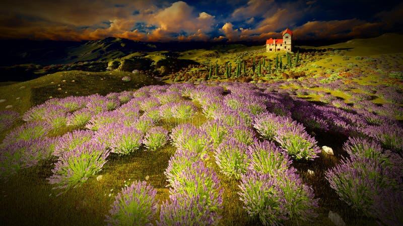 城堡耸立的9ver淡紫色领域 库存图片