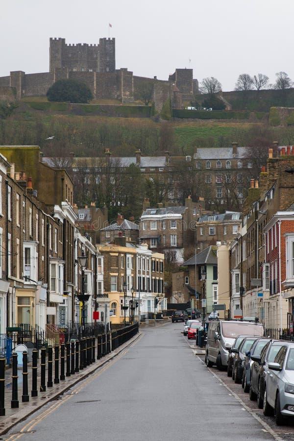 城堡街道,多弗,肯特,英国 免版税库存照片