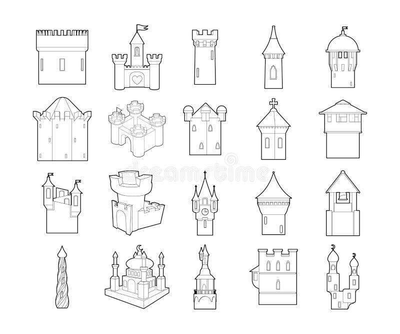 城堡象集合,概述样式 向量例证