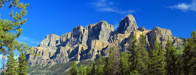 从城堡连接点的卡斯尔山,班夫国家公园,亚伯大 免版税库存图片