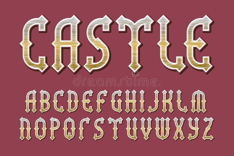城堡金黄字母表 赌博中世纪风格化字体 r 库存例证