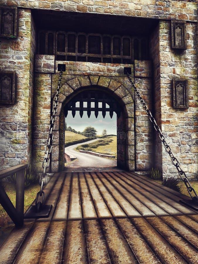 城堡门和桥梁 向量例证