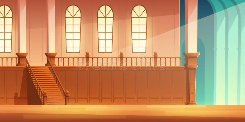 城堡,有阳台动画片传染媒介的大教堂大厅 向量例证