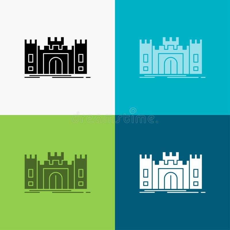 城堡,防御,堡垒,堡垒,在各种各样的背景的地标象 r 10 eps 向量例证